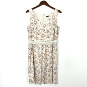 Ann Taylor |  Brushed Print Cream Dress Linen